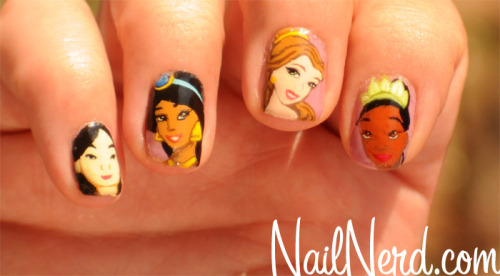 nailnerd-com:  Nail art from Disney animations on a base of OPI Por Favor  A Disney story on the finger tips