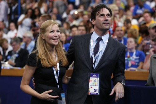 """Mad Men"" star Jon Hamm and his girlfriend, Jennifer Westfeldt, watch from the convention floor during the final session of the DNC.  [REUTERS/Jim Young]"