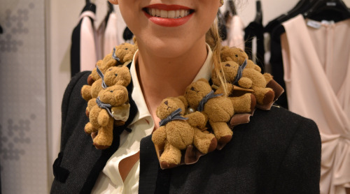 wgsn:  Teddy bears proving to be a trend at the Moschino store during Fashion's Night Out. WGSN street shot, New York.