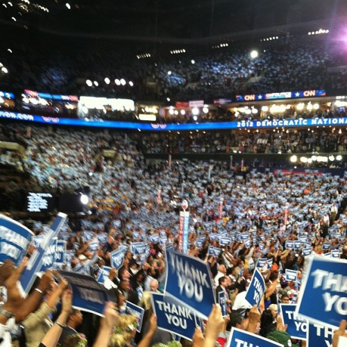 "The Democratic National Convention says ""Thank you,"" to US veterans. #dnc2012 #clt  (Taken with Instagram at #DNC2012 Convention Hall)"