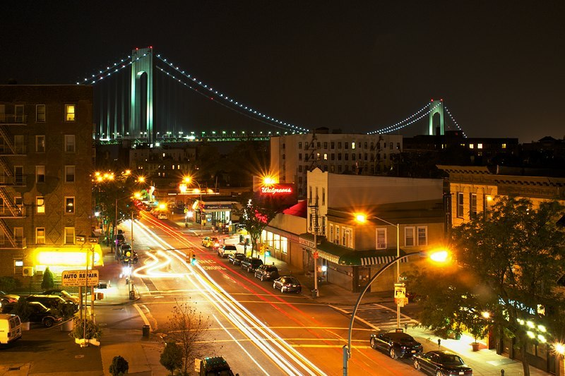 Bay Ridge, Brooklyn That's the Verrazano Bridge as seen from a rooftop in my neighborhood.
