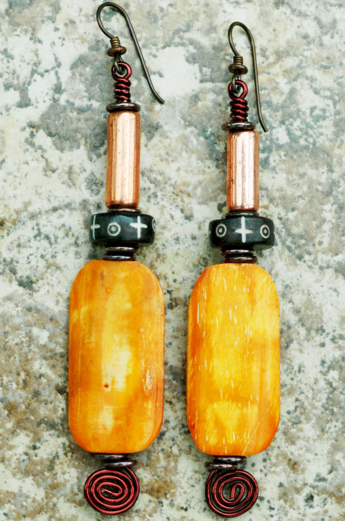 Amber Bone & Copper Wire Spiral Earrings