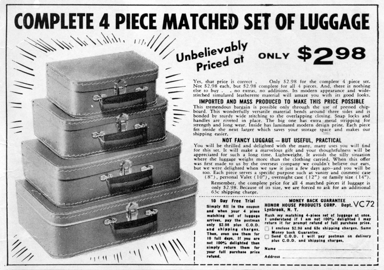 - A Complete 4 Piece Matched Set of Luggage, Unbelievably Priced at at Only $2.98. - comic book ad, circa 1961