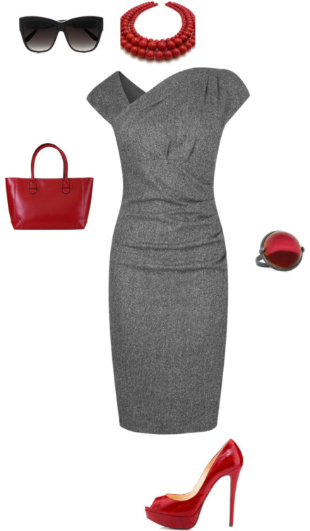 Red hot by janeamcdonald featuring a jade necklaceL.K.Bennett wool dress, $390 / Christian Louboutin red shoes / Lodis shopping tote bag / Bottega Veneta cabochon ring / Jade necklace / Linda Farrow Luxe acetate sunglasses