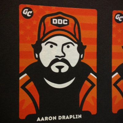 The Aaron Draplin GUM CARD with all three screen-printed colours in place.
