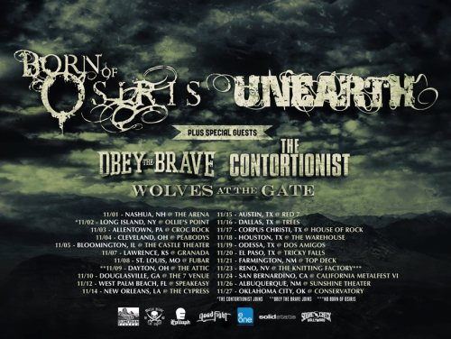 Tour Dates: Born Of Osiris / Unearth / Obey The Brave / The Contortionist / Wolves At The Gate