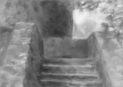 ruined stairway speed paint by ~rsek i can count the number of landscapes ive painted in the past two years on one hand, so im trying to get some practice in. gratuitous texture brush usage ahoy :v might throw some colour at it and use it as a background for a portrait im doing. time: about an hour tools: myPaint, wacom intuos4 reference