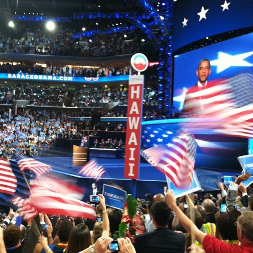 Our President!!! #dnc2012 #clt  (Taken with Instagram at #DNC2012 Convention Hall)