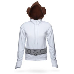 "Into the garbage chute, flyboy. (from ThinkGeek) Princess Leia's iconic gown from Star Wars is not terribly practical. Good for being Alderaan royalty. Not so good for climbing around in trash compactors. But, then again, when you get dressed in the morning, you're not generally thinking, ""Hey. I wonder if I'm going to have to slide down a garbage chute today? You know what'd be perfect for that? The white, billowy thing."" Honestly, bell sleeves don't mix well with real life. Fortunately, the folks at Her Universe get that. Feel like a princess in this white, full-zip hoodie from our friends at Her Universe. 60% cotton / 40% polyester (the polyester content helps resist stains). Hood with integrated buns originates inside collar and has embroidered details at the front part. Grey, embroidered belt extends around entire hoodie. Collar reaches 3"" high at max. Two pockets. Drawstring at neck. Fitted-point oversleeve has a hidden standard cuff inside. Turn hoodie inside out to wash in cold water. Tumble dry low or lay flat to dry. Note: Please reference the table below to choose your size. S: 35"" chest, 24"" front length M: 37"" chest, 24.5"" front length L: 39"" chest, 25"" front length XL: 41"" chest, 25.5"" front length 2X: 44.5"" chest, 26.5"" front length $49.99"