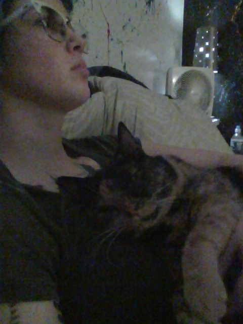 I'm watching tales from the crypt while Xena sleeps on my belly/chest