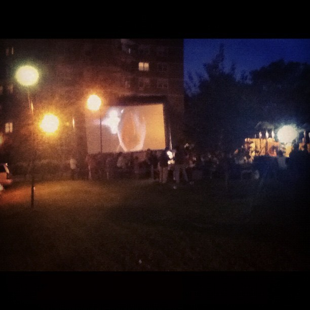 Outdoor #movie in my neighborhood. #woodside #queens #big6 (Taken with Instagram)