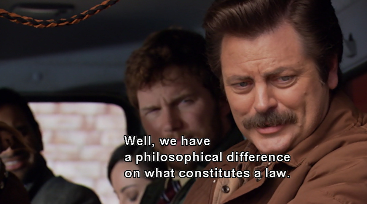hateforthestate:  One of the best TV characters of ever… Ron Swanson… getting pulled over by a cop.