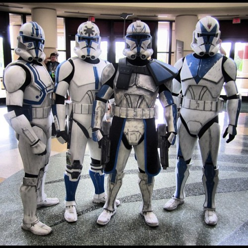 starwarsfreak:  Me and the boys hooked up with our friend Mike from the SoCal Garrison for this awesome picture. The Umbara Arc from Season 4 of the Clone Wars was so awesome we had to re-create it. #starwars #cvi #celebration #orlando #501st #legion #torrent #squad #hardcase #jesse #captain #Rex #dogma #clone #trooper (Taken with Instagram)  Sweetness.