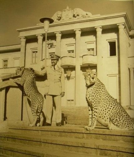 Emperor of Ethiopia, Haile Selassie I, with Pet Cheetahs (1930s)