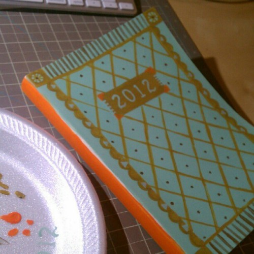 I couldn't find a journal with a #design I liked, so I painted my own. (Taken with Instagram)