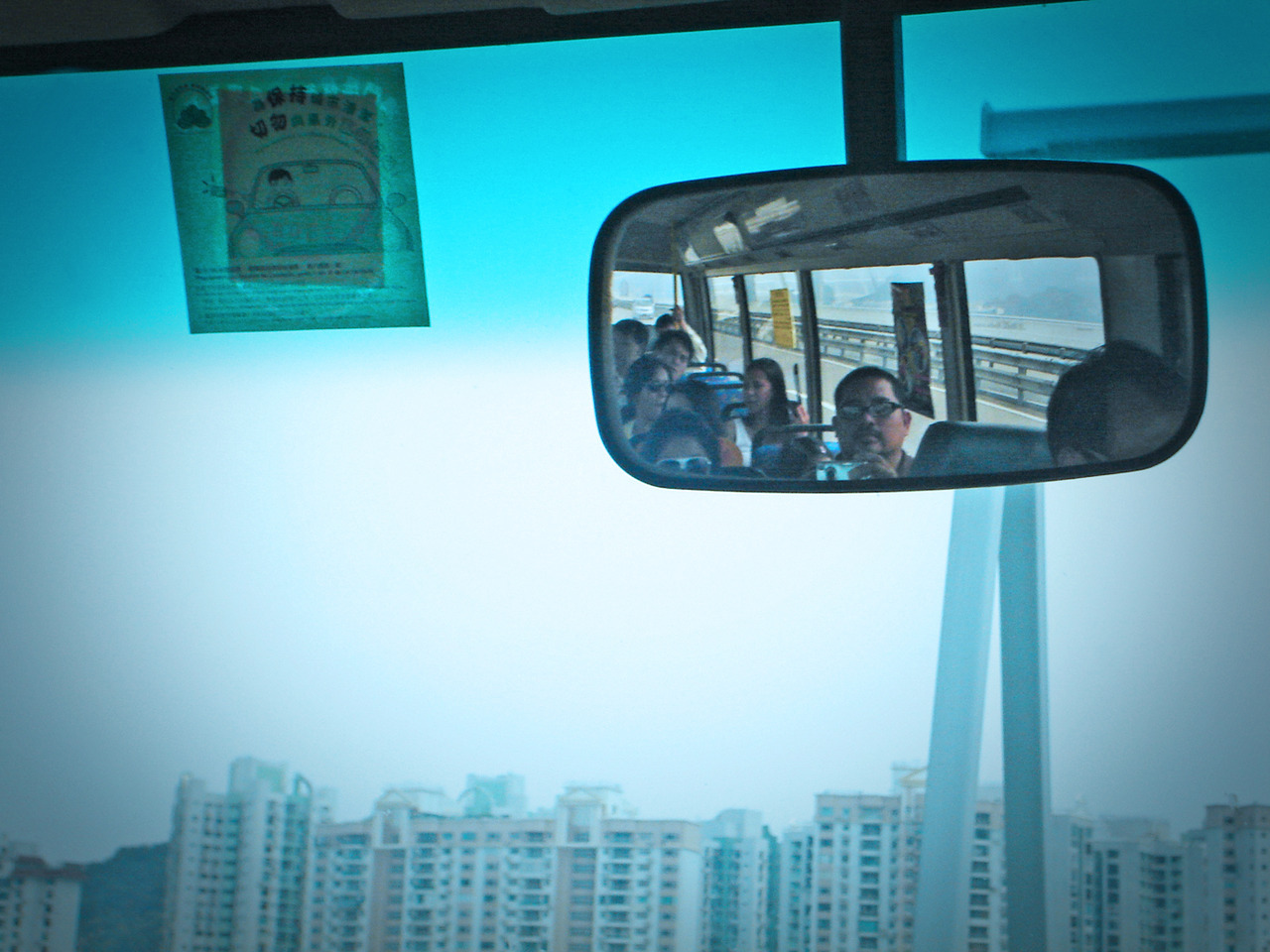 riding a bus in macau. august. 2009.