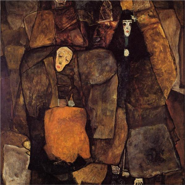 Egon Schiele (1890-1918) Procession, 1911. Oil on canvas, 100 x 100 cm. Private collection.