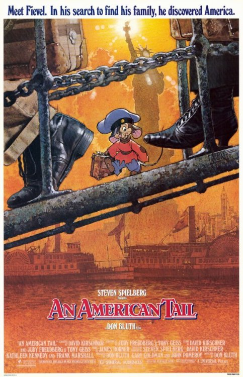 "Title: An American Tail Number: Two Hundred and Thirty-Three Directer: Don Bluth Writer: Judy Freudberg & Tony Geiss Genre: Animation. Released: 1986 Seen on: Sky Movies. Seen Before: Several times when younger, but not for a long while. Starring: Phillip Glasser, Amy Green, John P. Finnegan, Nehemiah Persoff, Dom DeLuise, Christopher Plummer Running Time: 80 minutes. Favorite Moment: When Fievel is knocked off the boat, the ocean storm evokes imagery of Chernabog from 'Fantasia'. Thoughts: I had earlier this year seen ""The Secret Of Nimh"", and whilst it was slightly enjoyable, I felt it was more animation orientated as opposed to story orientated. Don Bluth is a master of animation, able to craft dark, intense animation that offers a perfect counterpart to idyllic surroundings of the protagonist. Here, it is depicted in the relaxed, comforted home scenes with the Mousekewitz family, that are then intruded upon in violent action by the darkly demonic-orientated cats, an animated surrogate of true prosecutions of any minorities over the last century or so. And that gave the film a more impactful aspect, and probably quite strong resonance for any audience. The subject matter of prosecution upon minorities and family immigrants is a difficult subject at the best of times, but here the subject matter flexes throughout the entire film, adding extra context and emotional deposition to the more simpler main plot: a young mouse trying to find his family again. The idea of a young child being torn from his family and attempting to find them again, is a simplistic storyline that the audience can emotionally connect with, mostly children in this case, cheering on the protagonist, Fievel, to succeed. The objective of this Russian-Jewish mouse attempting to reunite with his family in the utopia-esque America, whilst being chased by the evil cats, at times is surprisingly violent and terrifying, a clever use of subtext referencing the history of similar Russian-Jewish humans. I really liked the feeling that I wasn't watching a thrown together story, but one full of allegory and subjectivity in relation to history. The voice actors do a good job, with Dom DeLuise, a favorite of Bluth, in particular, bringing the standard of the film up a level with his humorous actions and enjoyment. It is actually probably not a surprise that in later films, DeLuise's role was made much larger to help capitalize on his ability. I do feel that the earlier scenes may have been slightly more elevated if he'd been included. I think if you are a fan of Don Bluth, you will love this. If you watched these films as a kid, you may be slightly surprised by the darker inclusions within the film, as the sequels gradually lighten up. For me, it was okay, I enjoyed it, it was very quick, concise, and well-paced. But again, Bluth seems more style orientated than substance orientated. Still, worth a watch. Thumbs Up, 6 out of 10"
