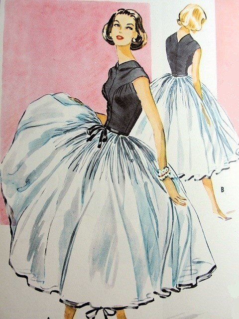 theniftyfifties:  Cocktail dress design with a full skirted petticoat by Galanos for McCalls, 1950s.