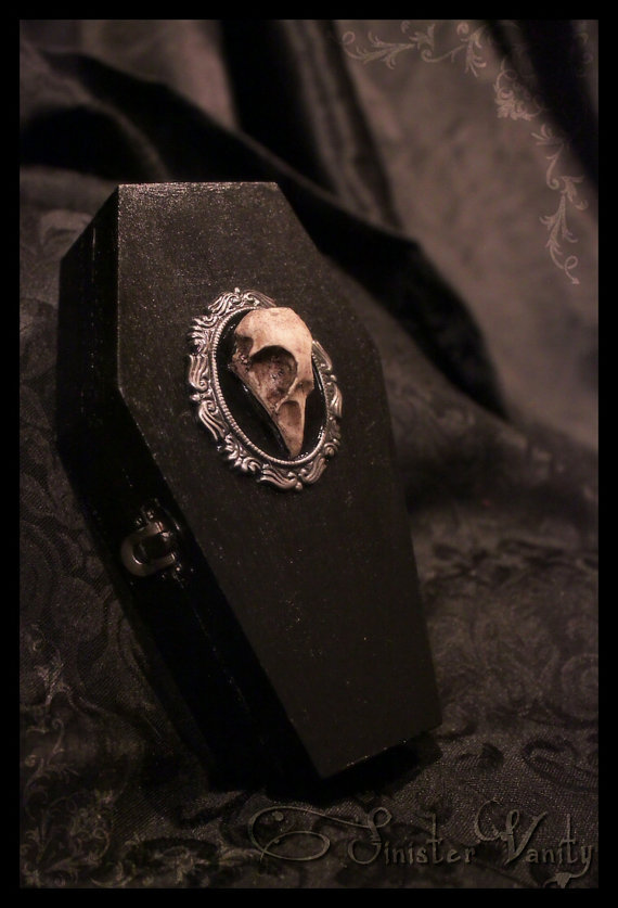 mortisia:  Gothic Coffin Jewelry Skull Cameo trinket box antiqued silver setting velvet damask lining | source