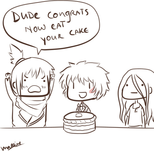 youwhohidebehindyoursmile:  chocoboco:  Dude.  yes. perfect.  HAPPY BIRTHDAY DUDE~