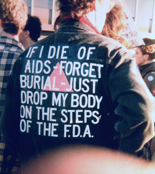 redletters:  David Wojnarowicz's Jacket —Photo taken by Bill Dobbs at ACT UP's FDA ActionOctober 11, 1988