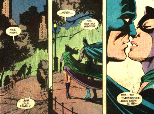thebatandthecat:   … Warm … And getting warmer.  —Batman #392, A Night on the Town