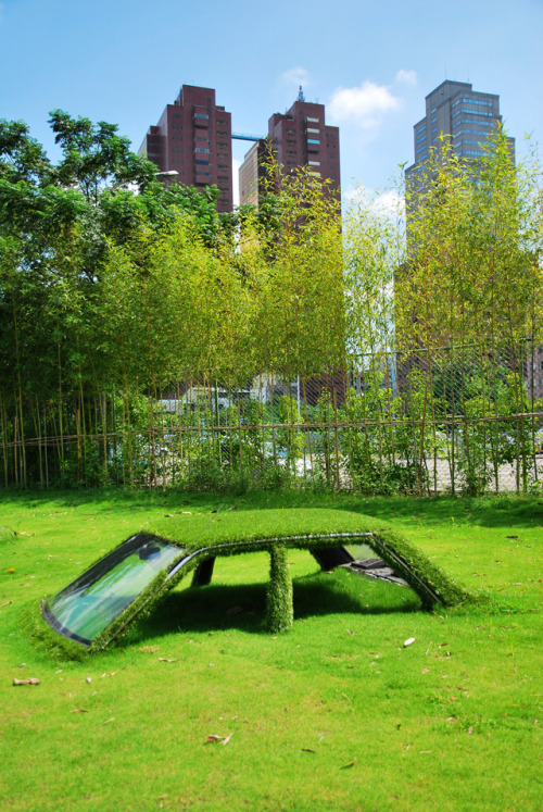 the-iridescence:  Buried vehicles being reclaimed by nature at CMP Block in Taiwan.  This is awesome.