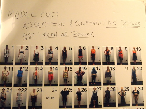 "Backstage @ NYFW: ""Model Cue: Assertive & Confident. NO SMILES. NOT MEAN OR BITCHY."" —New York Fashion Week"