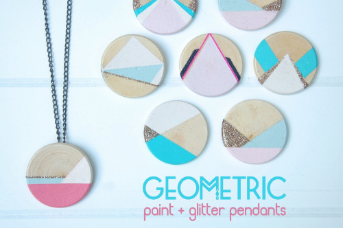 (via well it's okay: DIY GEOMETRIC PAINT GLITTER PENDANTS)
