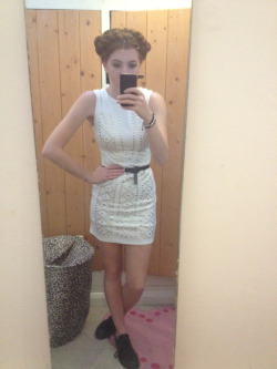 What I wore today Milkmaid hair braids ;) White studded mini dress from eBay, black vintage belt, black converse