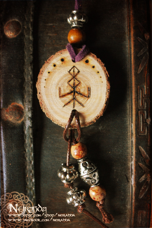 neirahda:  Bindrune Wood pendant, available *here*The Bindrunes were magic symbols very common in pre-Viking age. This one provides fertility and growth.
