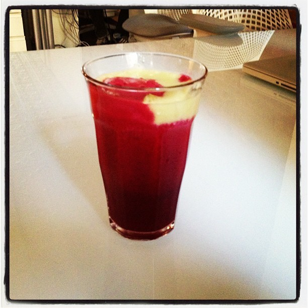 Immune booster: apple + beet + ginger + garlic #takethatmarthastewart  (Taken with Instagram at Percolate HQ)