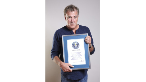 "BBC AMERICA's Top Gear Wins Guinness World Record  From TopGear.com: Top Gear has just been crowned the world's most widely watched factual TV programme… in the world! The 2013 edition of the Guinness Book of World Records has certified that Jezza, Hamster, and Captain Slow have been watched by audiences in 212 territories around the world from Ghana to Guatemala, Moldova to Myanmar. As he accepted the Guinness World Records 2013 book on behalf of the show, Jeremy Clarkson said: ""I am very proud to be involved in such a factual programme."""