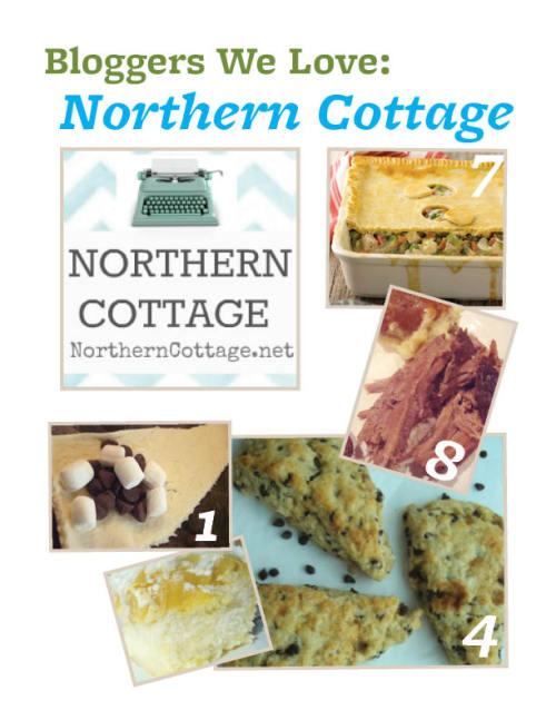 Blogger We Love: Northern Cottage.    Searching for delicious comfort food? Look no further than Northern Cottage. With tasty recipes like Best Roast Beef and BBQ Pork Sandwiches, you'll find savory recipes you'll love.  1) Favorite ingredient: Butter -oh lovely butter.In moderation, it really does makeeverything better, doesn't it?  2) Must-have kitchen accessory: A good (and pretty) set of mixing bowls. We use them everyday and making everything from Chocolate Peanut Butter Fudge and Crepes to whipping up yummy desserts like Tropical Slush Cake.  3) Biggest Cooking Inspiration: Both of my parents. My dad was the official soup and stew guy and my mom made well, pretty much everything else. I have so many memories of great family dinners! When I use those recipes for my own family today it makes them extra special.  4) Dish you're most proud of: I'm usually a throw stuff together kinda cook (shh, don't tell anyone, I don't usually measure exactly). We all know with baking that it's more important to do so. So I'm thrilled that my Chocolate Chip Scones turned out so great. They are light and fluffy and have just the right amount of outside crispness to hold it all together.   5) Salty or sweet: Oh, this is a hard one. I adore sweets and love that little hint of salt with so many great recipes to give it that extra bling. One of our favorites is this go-to fast and easy S'mores Croissants recipe.  6) Favorite person to cook for: I love to cook for people who love to eat but especially my little family. When I see them satisfied and hear them lick and their lips and say 'mmm-yum!' - that makes my day! One of our family favorites is Cheesy Stuffed Mushrooms.  7) Recipe You'd Recommend: So many fabulous recipes but I'd have to say Deep Dish Chicken Pot Pie is definitely a great weeknight dinner.   8) Your go-to dinner dish: This sentimental Best Roast Beef recipe is pure comfort food and oh so easy. I hope you enjoy it as much as we do!