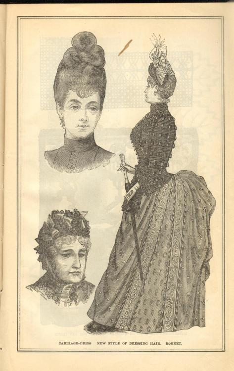 Bustle ensemble and two bonnets from Peterson's Magazine, September 1887