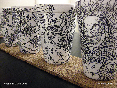 Amazing coffee cup art by Boey Cheeming.