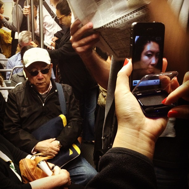 Makeshift compact on the T. #muni #sf #sanfrancisco #iphone #makeup #makeshift #nailpolish #motionblur #sunglasses #beauty #transit #passengers  (Taken with Instagram)