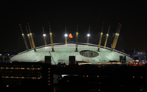 The amber moon crowning the O2 dome 6 September 2012.
