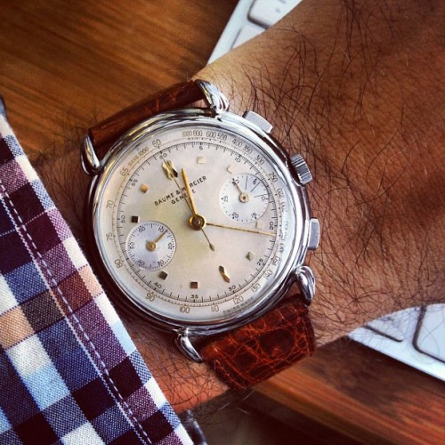 Gorgeous 1950s @baumeetmercier chronograph in steel with killer lugs for next pop-up.  (Taken with Instagram at HODINKEE Headquarters)