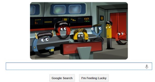 inothernews:  Not quite sure how I missed the best Google Doodle EVER — the one marking the 46th anniversary of the original Star Trek series, which first aired on NBC in 1966. Live long and prosper.  It's the most beautiful… ever… It's still up! Go see!