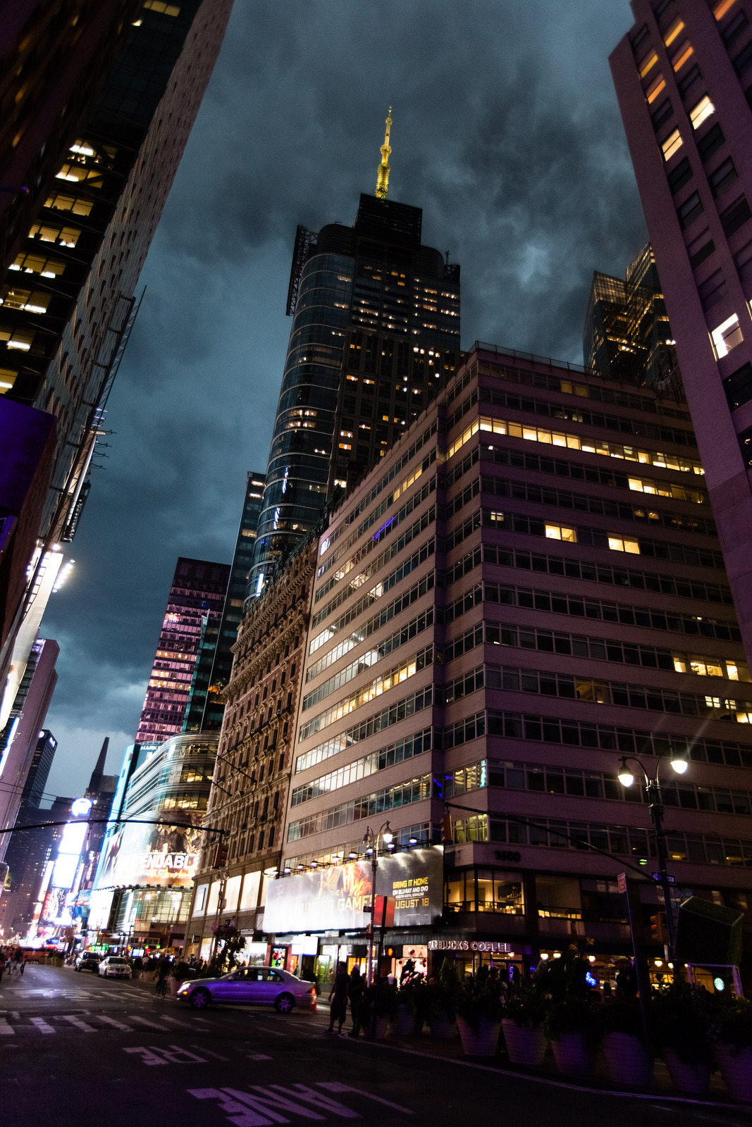 Dark clouds over Times Square, during a summer storm