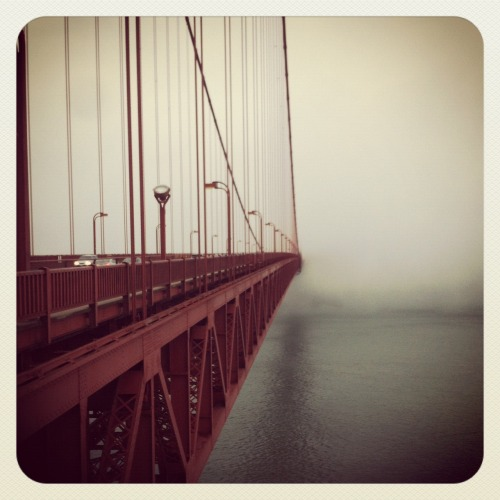 I miss this city. A rare and gloomy evening on the Golden Gate Bridge.