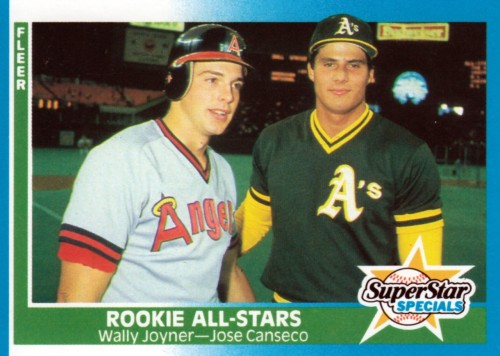 Random Baseball Card #1607: first baseman Wally Joyner of the California Angels & outfielder Jose Canseco of the Oakland A's, 1987, Fleer.