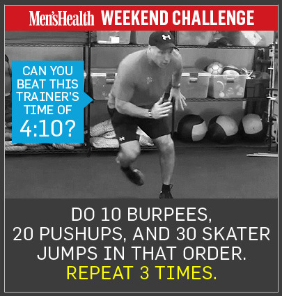 WEEKEND CHALLENGE: You don't need an expensive gym membership or fancy fitness gear to build the physique you want. Your body weight is all you need to melt belly fat and sculpt total-body muscle. This weekend, try the equipment-free 10-20-30 challenge. Perform 10 burpees, 20 pushups, and 30 skater hops, in that order, as fast as possible with good form. Repeat 3 times.  THE DETAILS (equipped with a video!): http://ow.ly/dxXTo