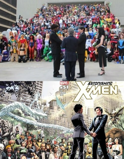 thedailywhat:  X-Marriage IRL of the Day: At this year's Dragon*Con, Redditor GreenArrowFLnot only re-enacted one of the biggest covers in Marvel history, he married his boyfriend of 20 years in the process. Awww. [reddit]