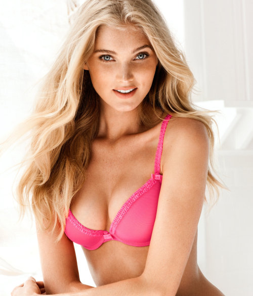 Elsa Hosk's pink bra, a little bit of a smile, and stunning eyes. You will also like: Elsa Hosk, colorful and cute.Blur that line.