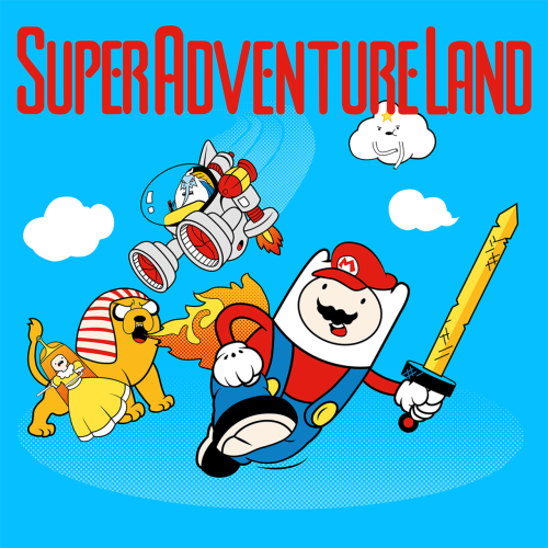 deanlord:  'Super Adventure Time' My new t-shirt design. Available to buy here: http://www.redbubble.com/people/deanlord/works/9321900-super-adventure-land Also please vote for this design at Qwertee.com, it will only take a minute and I would really appreciate it: http://www.qwertee.com/product/super-adventure-land/  Thanks