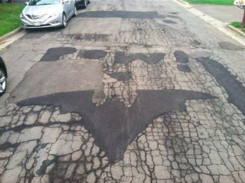 Pothole repair by an awesome person.