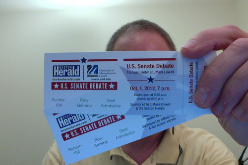 Tix for US Senate Debate on Flickr.I got my tickets for the upcoming debate between Scott Brown and Elizabeth Warren! Faculty were supposed to be able to reserve four, but there were eleven thousand requests from the general public. Has apathy faded? (Faculty can request to be waitlisted for an additional two, and so I have.)